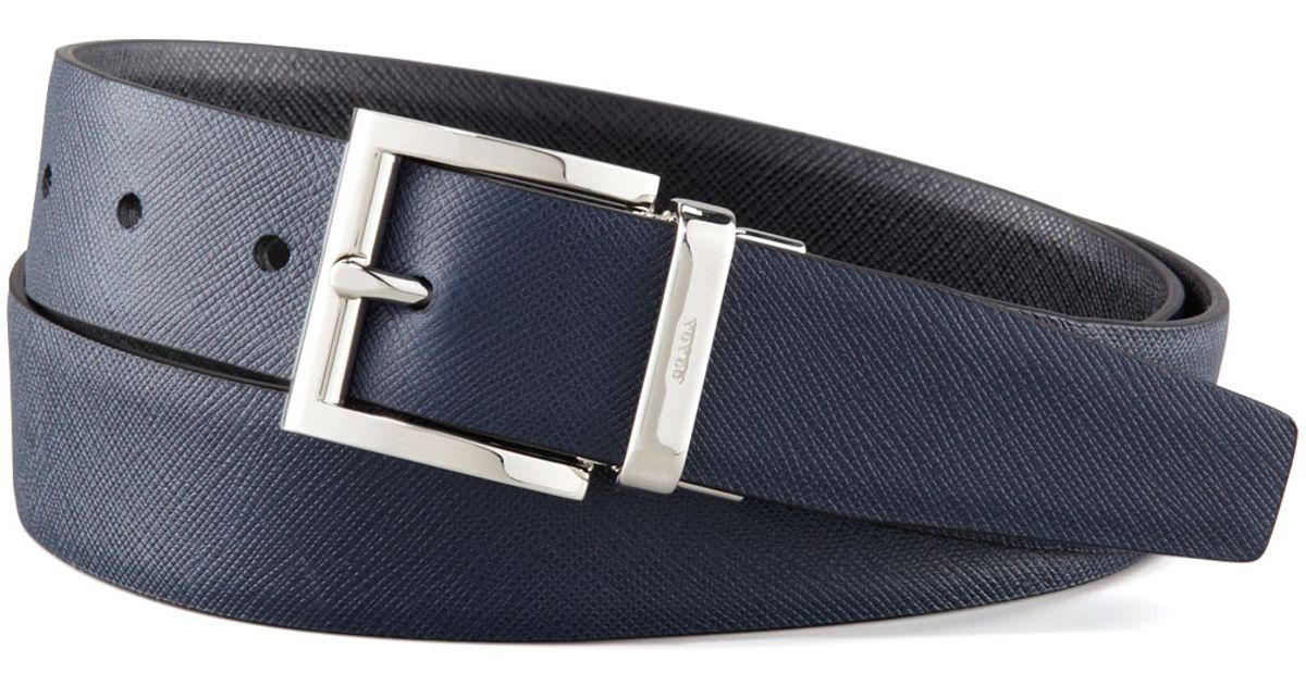 7564ded175562 Lyst - Prada Saffiano Leather Reversible Belt in Blue for Men