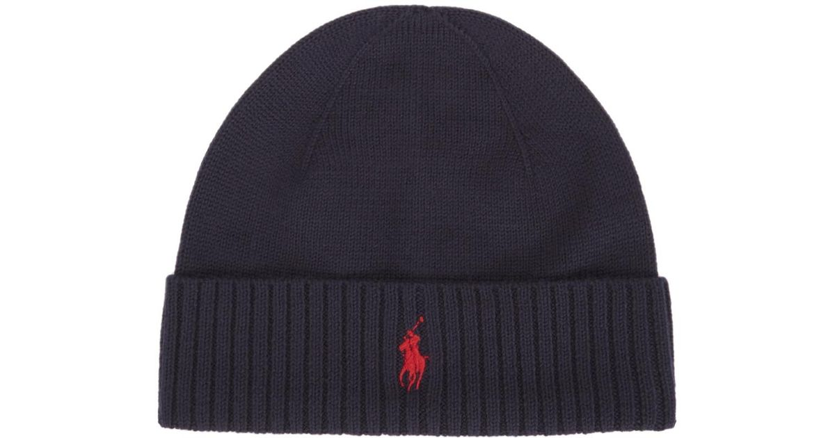 d69ba2dd675 Polo Ralph Lauren Navy Merino Wool Hat in Blue for Men - Lyst