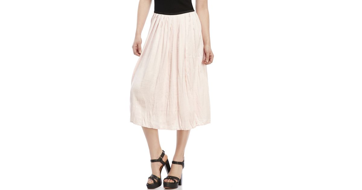 philosophy pleated midi skirt in pink blush lyst