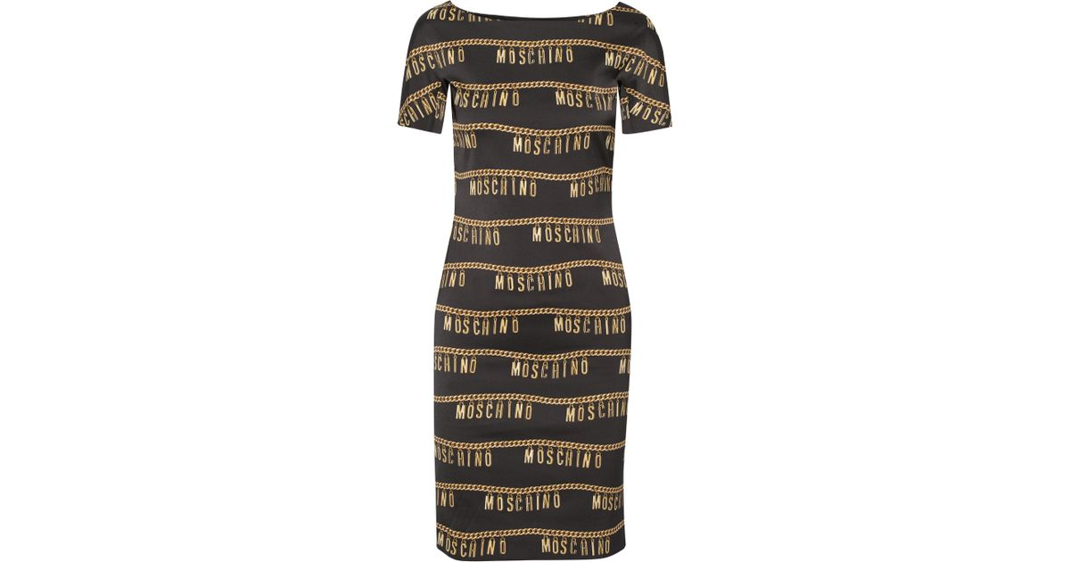 881e658b80 Moschino Printed Stretch-crepe Dress in Metallic - Lyst