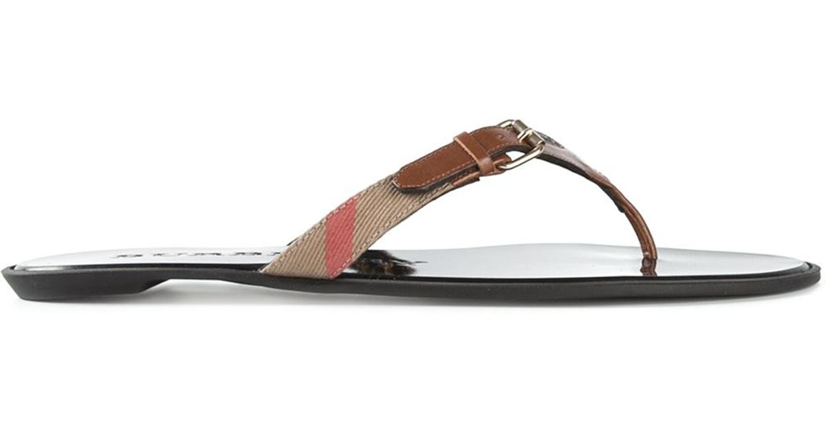 ad058e130d3c Lyst - Burberry  Masie  Thong Check Sandals in Brown