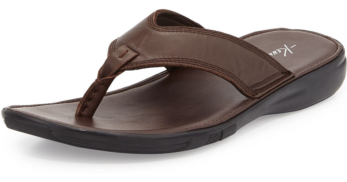 ae80e0fa95ce Lyst - Kenneth Cole Get-in-shape Leather Thong Sandal in Brown for Men