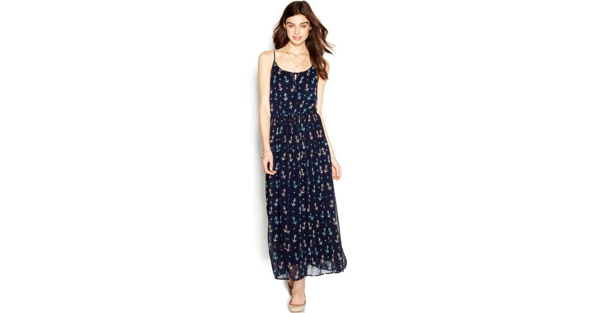 932dafab7799 Lyst - Maison Jules Spaghetti-strap Anchor-print Maxi Dress in Blue