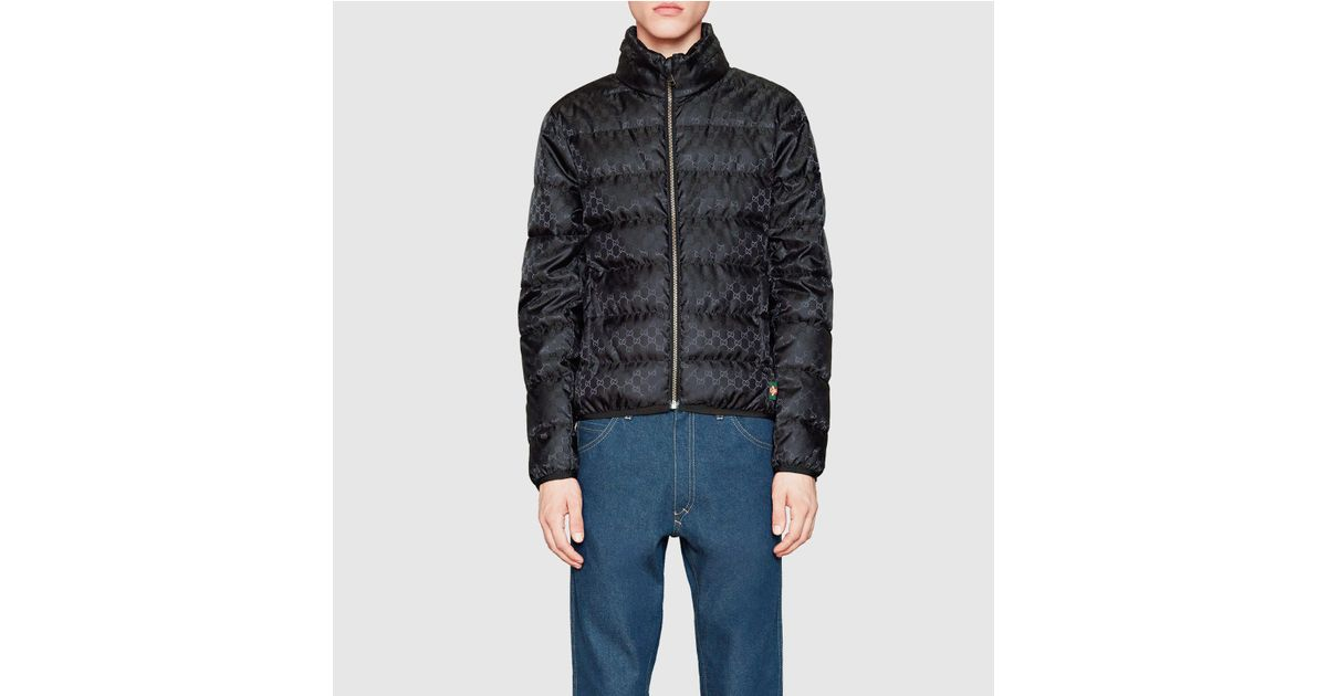 7c3a3a342 Gucci Gg Jacquard Quilted Nylon Jacket in Black for Men - Lyst