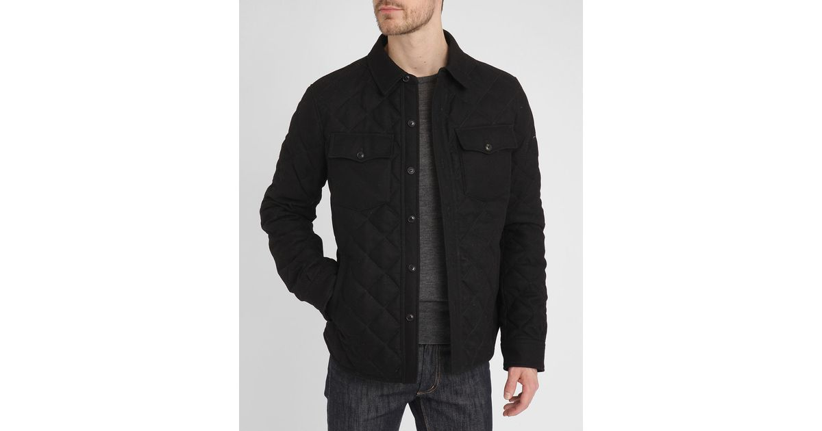Polo ralph lauren black shirt effect quilted woollen for Polo shirt with jacket