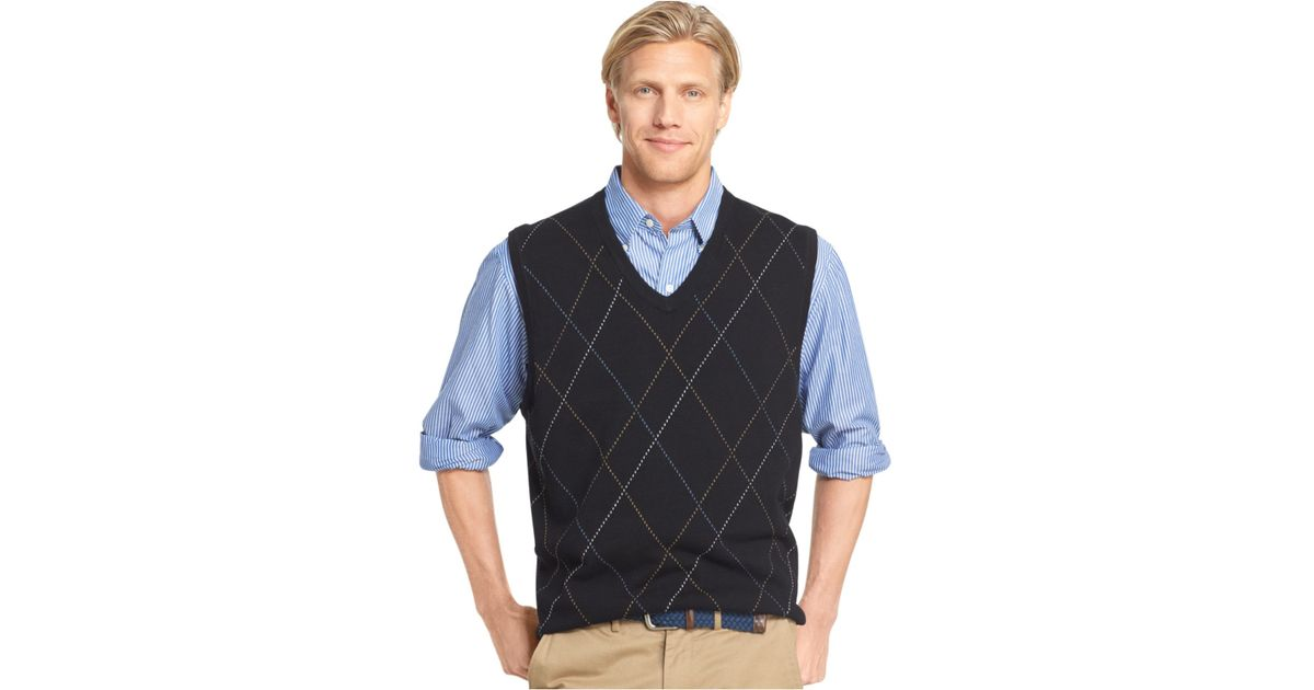 Izod Raker Pullover Sweater Vest in Black for Men | Lyst
