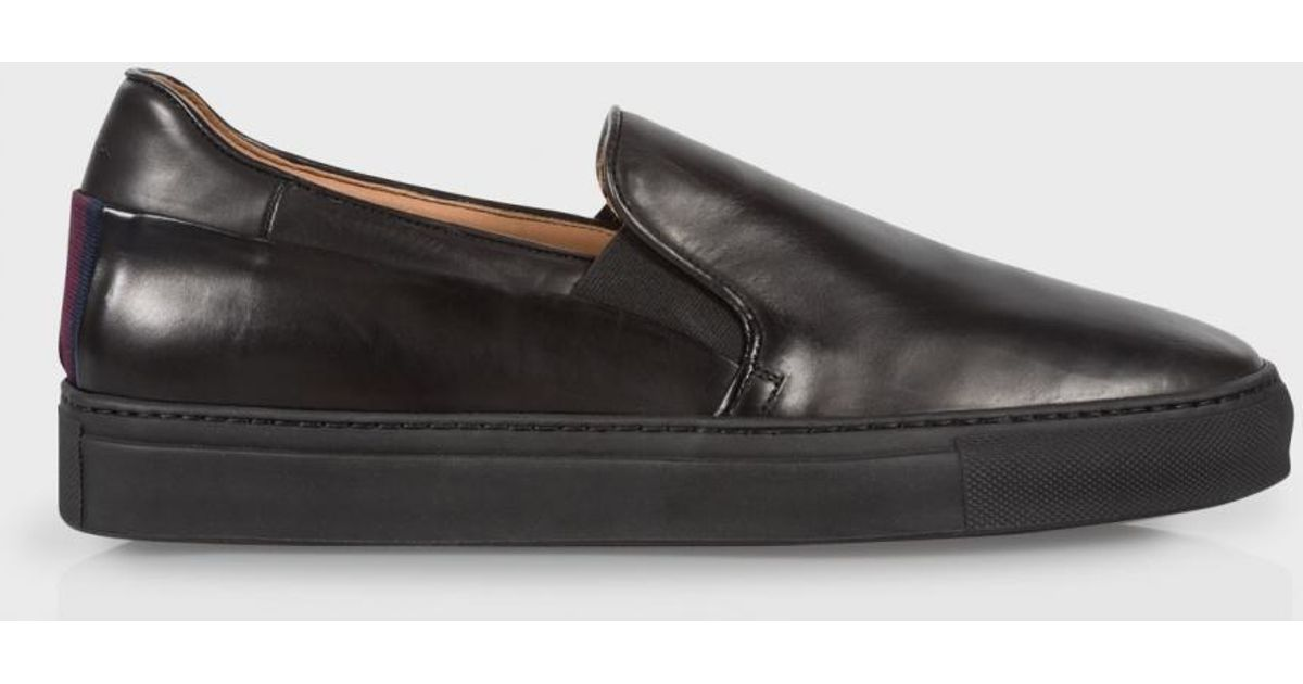 218cc0364b574 Lyst - Paul Smith Men s Black Calf Leather  zorn  Slip-on Trainers in Black  for Men
