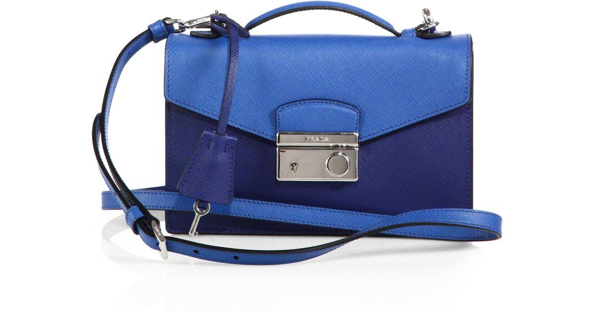 5449a626da2a Prada Saffiano Lux Bicolor Crossbody Bag in Blue - Lyst