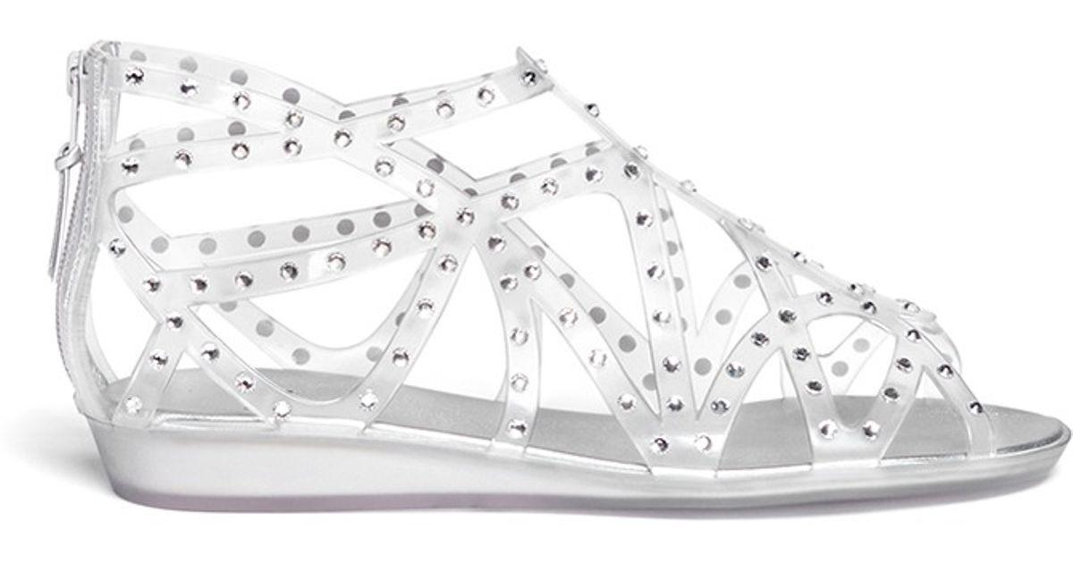 Stuart Weitzman Rhinestone Embellished Jelly Sandals In