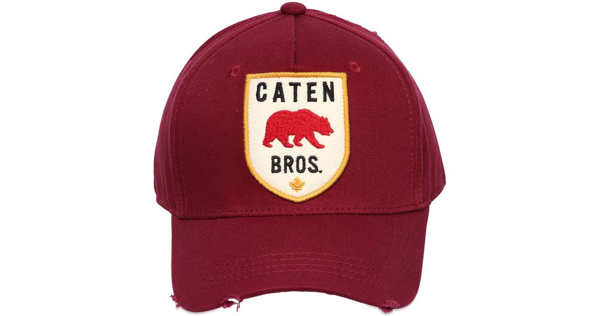 24235b4a4b5 Lyst - DSquared² Caten Patch Cotton Canvas Baseball Hat in Purple for Men