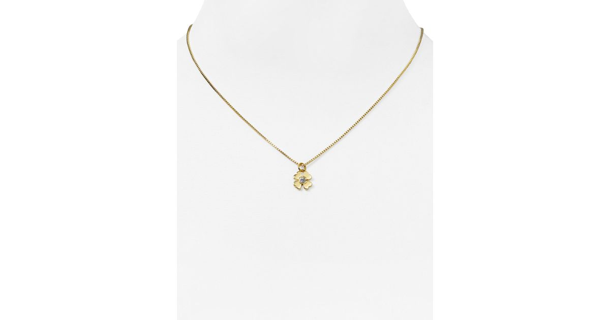 Lyst kate spade new york four leaf clover pendant necklace 16 in lyst kate spade new york four leaf clover pendant necklace 16 in metallic aloadofball Image collections