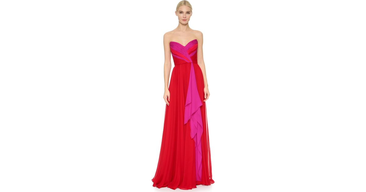 a87b0313f9 Lyst - Reem Acra Strapless Chiffon Gown in Pink