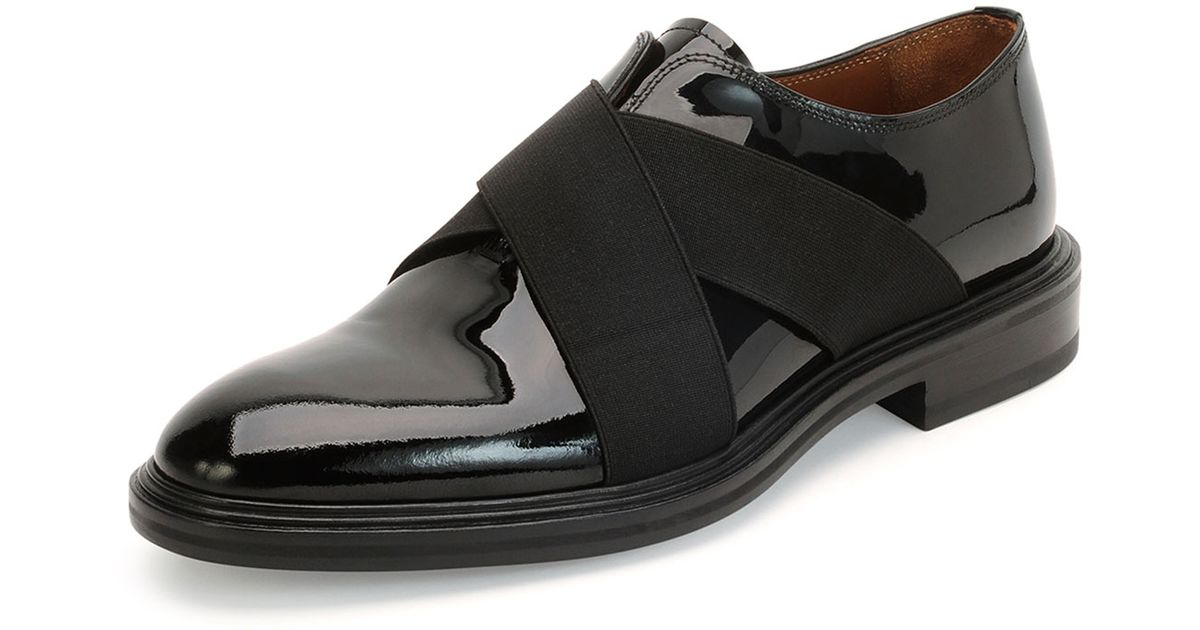 Givenchy Crisscross Patent Leather Shoe In Black For Men