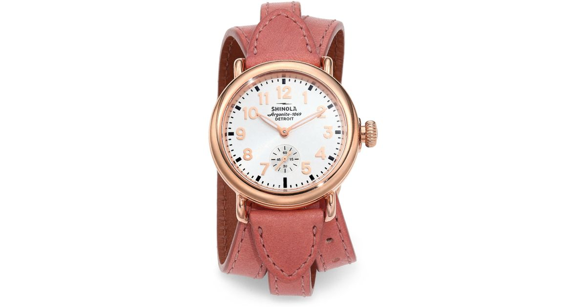 1ece13b6696 Lyst - Shinola Runwell Rose Goldtone Pvd Stainless Steel   Leather  Triple-wrap Strap Watch in Pink