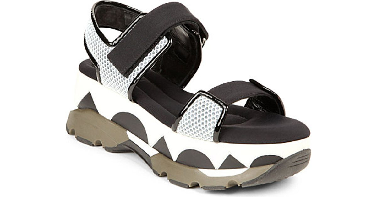 847648ac1425 Marni Geometric-Print Mesh And Rubber Platform Sandals - For Women in Black  - Lyst
