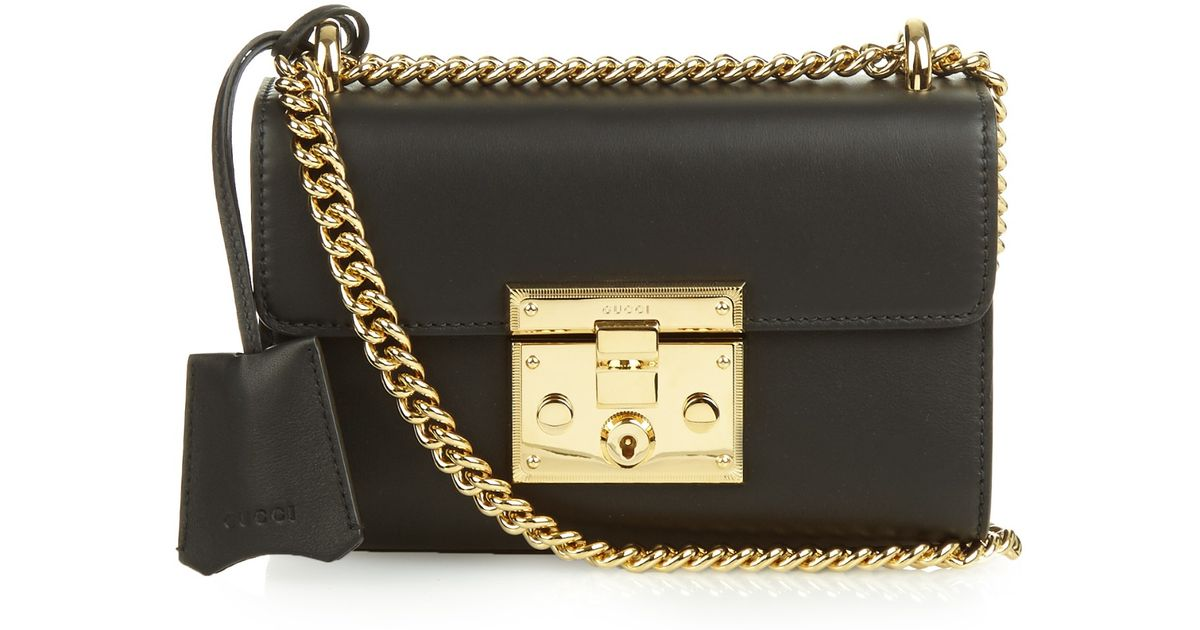 cfead5fe50 Gucci Padlock Mini Leather Shoulder Bag in Black - Lyst