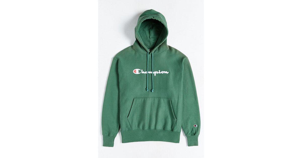 4e627410e8d4 Lyst - Champion Script Reverse Weave Hoodie Sweatshirt in Green for Men