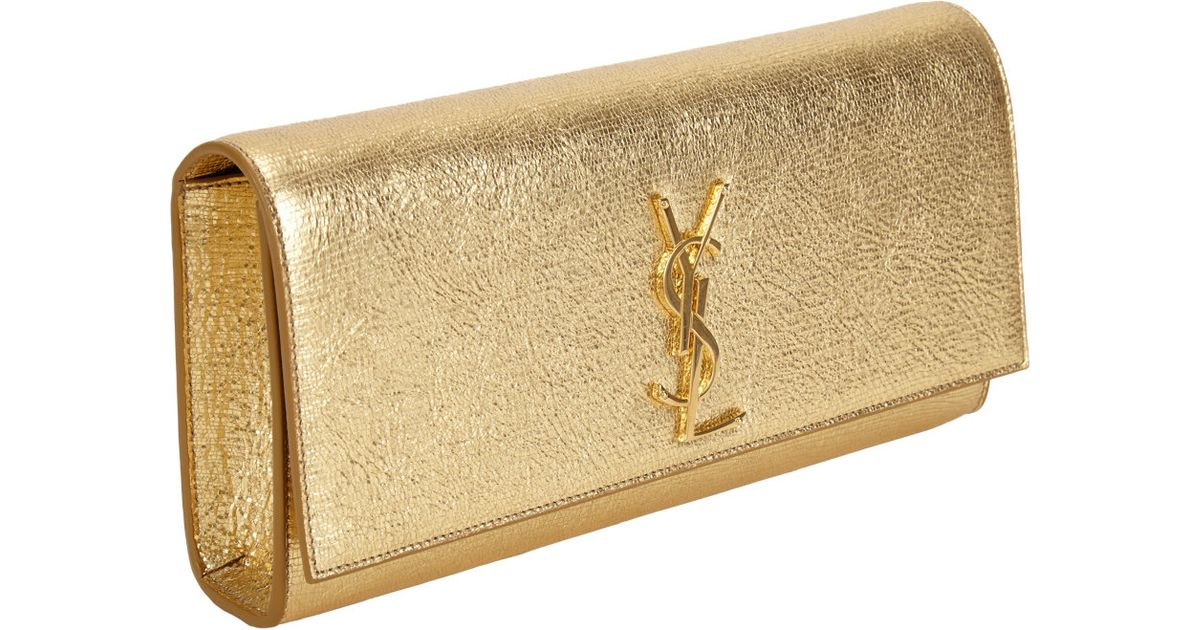 Saint Laurent Ysl Cassandre Clutch In Metallic Lyst