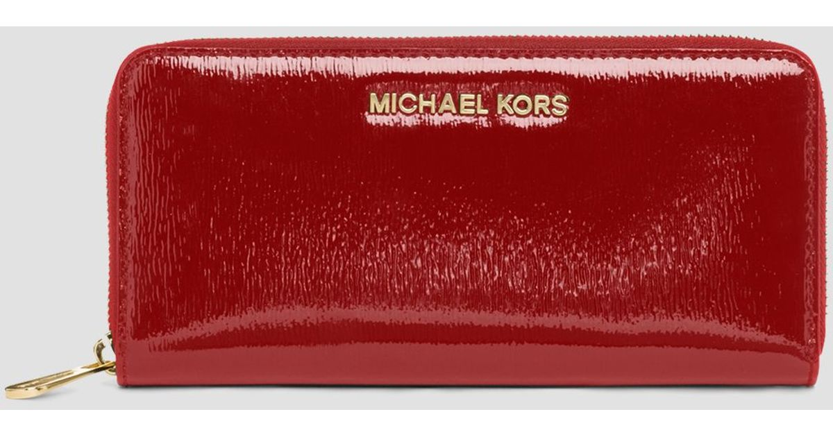 babb26c46f2e MICHAEL Michael Kors Wallet - Zip Around Patent Leather Continental in Red  - Lyst