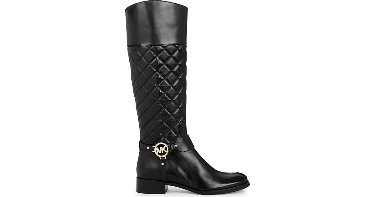 Michael Michael Kors Fulton Harness Leather Boots In Black