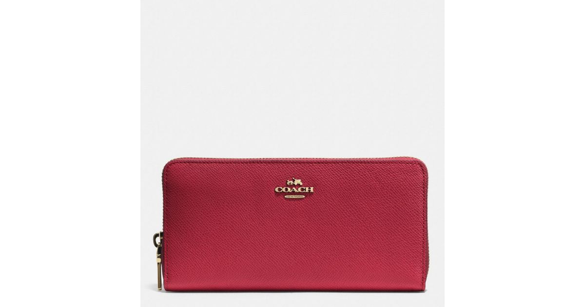 334606f79d0c Lyst - Coach Accordion Zip Wallet In Embossed Textured Leather in Red