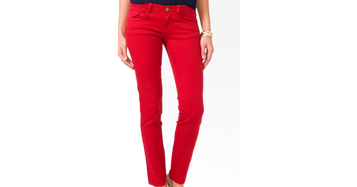 - Forever 21 Colored Skinny Jeans In Red Lyst