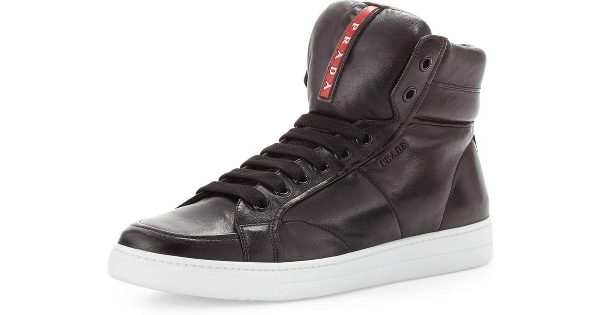 5587fb85 sale prada high top leather skate sneakers 5cef4 b4f9b