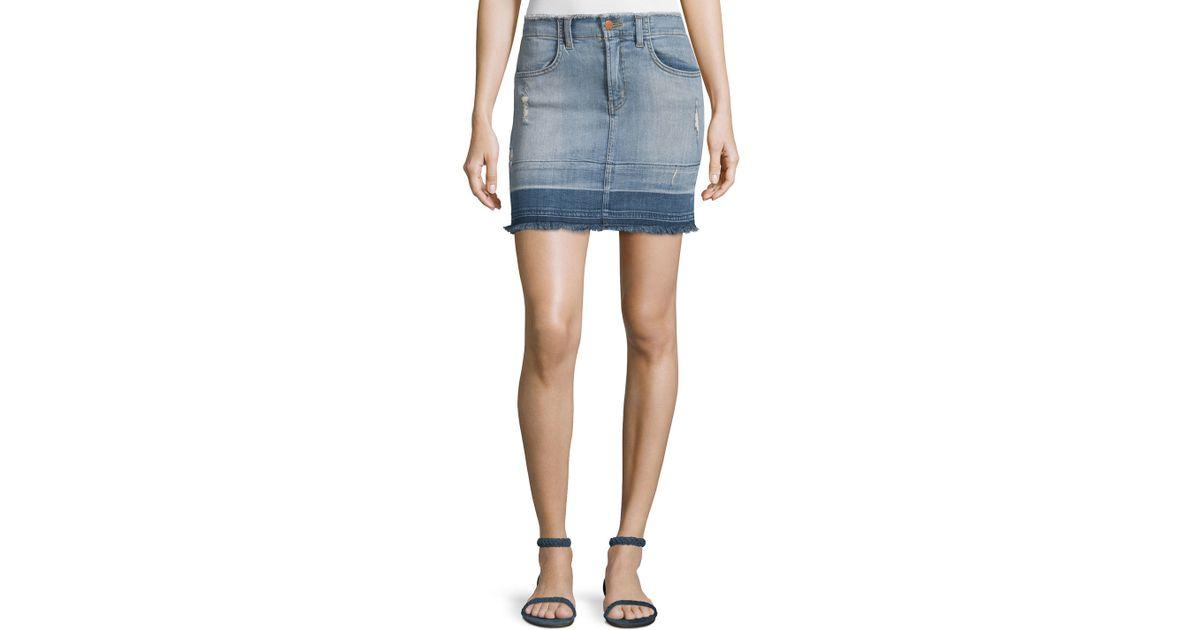 j brand denim mini skirt in blue lyst