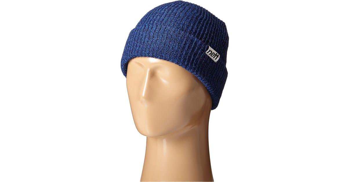 220759a754c Lyst - Neff Fold Heather Beanie in Blue