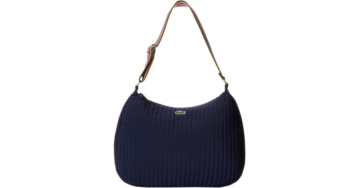 Lyst - Lacoste Elena Nylon Hobo Bag in Blue 74a1b6e1e28d4