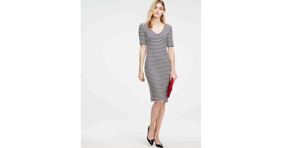 139c26fbe745 Lyst - Ann Taylor Petite Striped Double V Sheath Dress in Blue