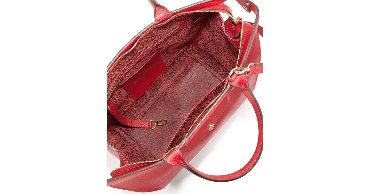 40c8aa0ac3f8 Lyst - Longchamp Le Pliage Heritage Saffiano Leather Satchel Bag in Red