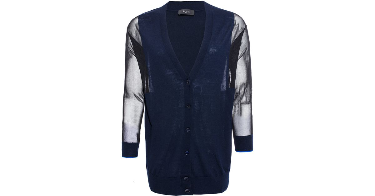 Paul smith black label Navy Sheer Sleeve Merino Wool Cardigan in ...