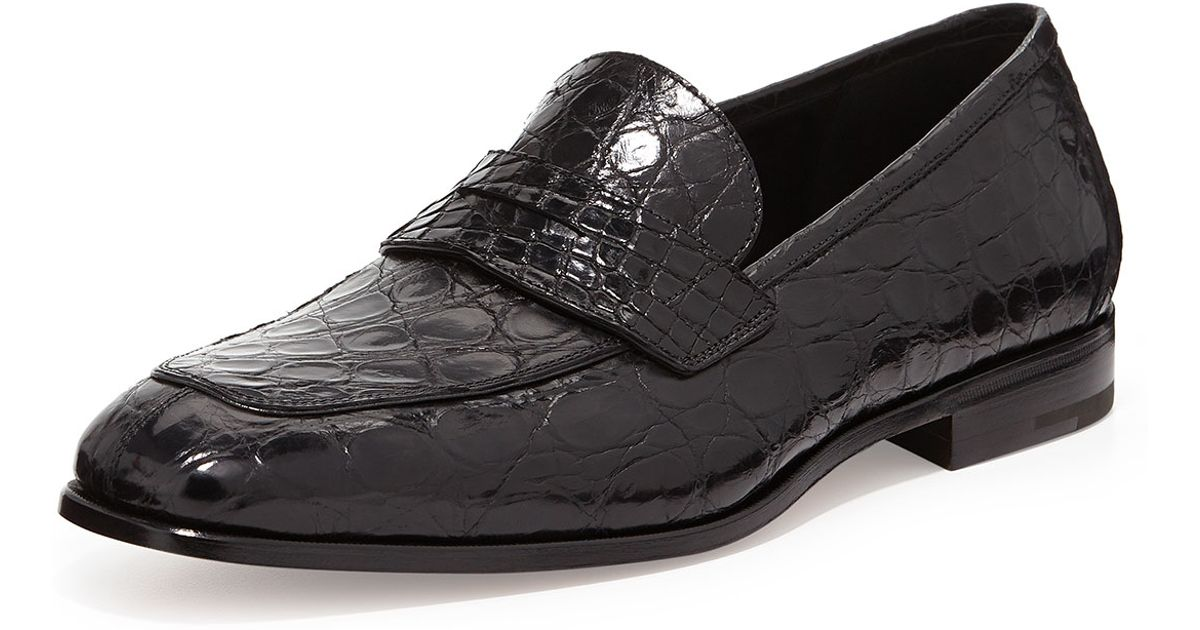 Ferragamo Pablo 2 Crocodile Penny Loafer In Black For Men