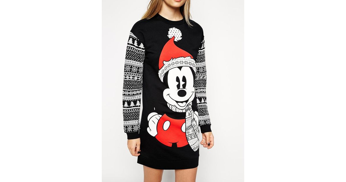 Lyst - Asos Jumper Dress In Christmas Mickey Mouse Fairisle Print