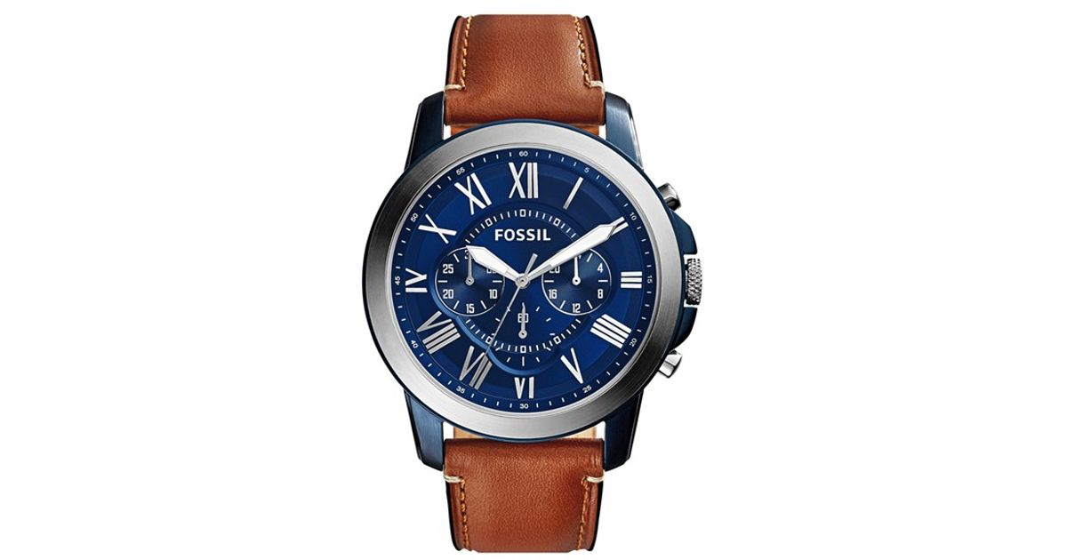 Fossil Grant Round Chronograph Leather Strap Watch In
