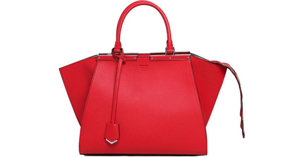 419f36c831e Fendi Mini 3Jours Leather Bag W/ Croc Detail in Red - Lyst