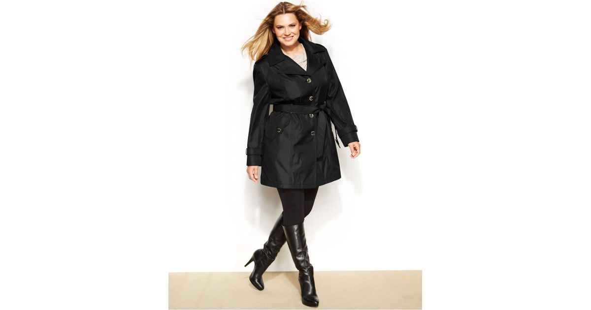 20cfa9967d3 Lyst - Calvin Klein Plus Size Belted Trench Coat in Black