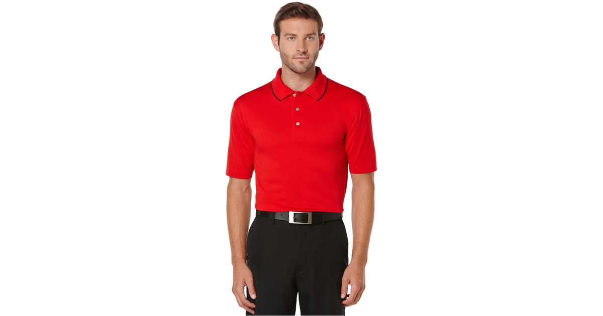 Pga tour solid cotton golf polo in red for men tango red for The tour jacket polo shirt