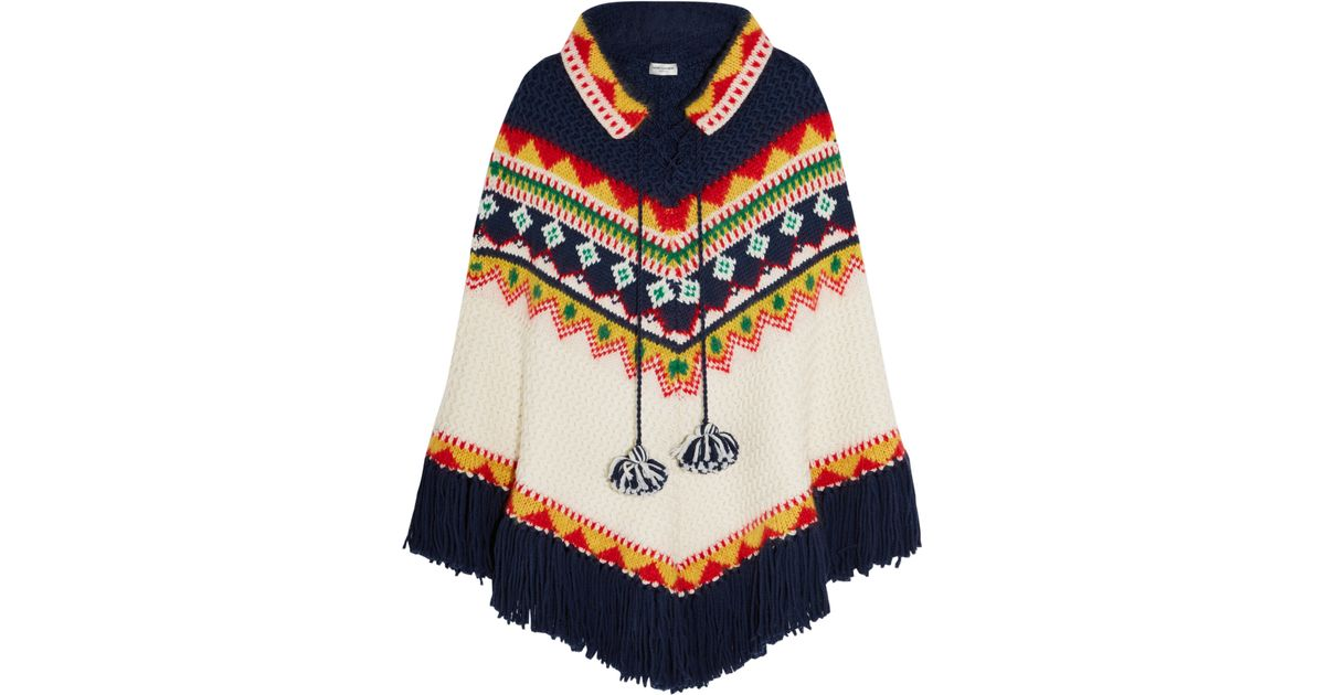 Lyst - Saint laurent Fair Isle Intarsia Wool-blend Poncho in Blue