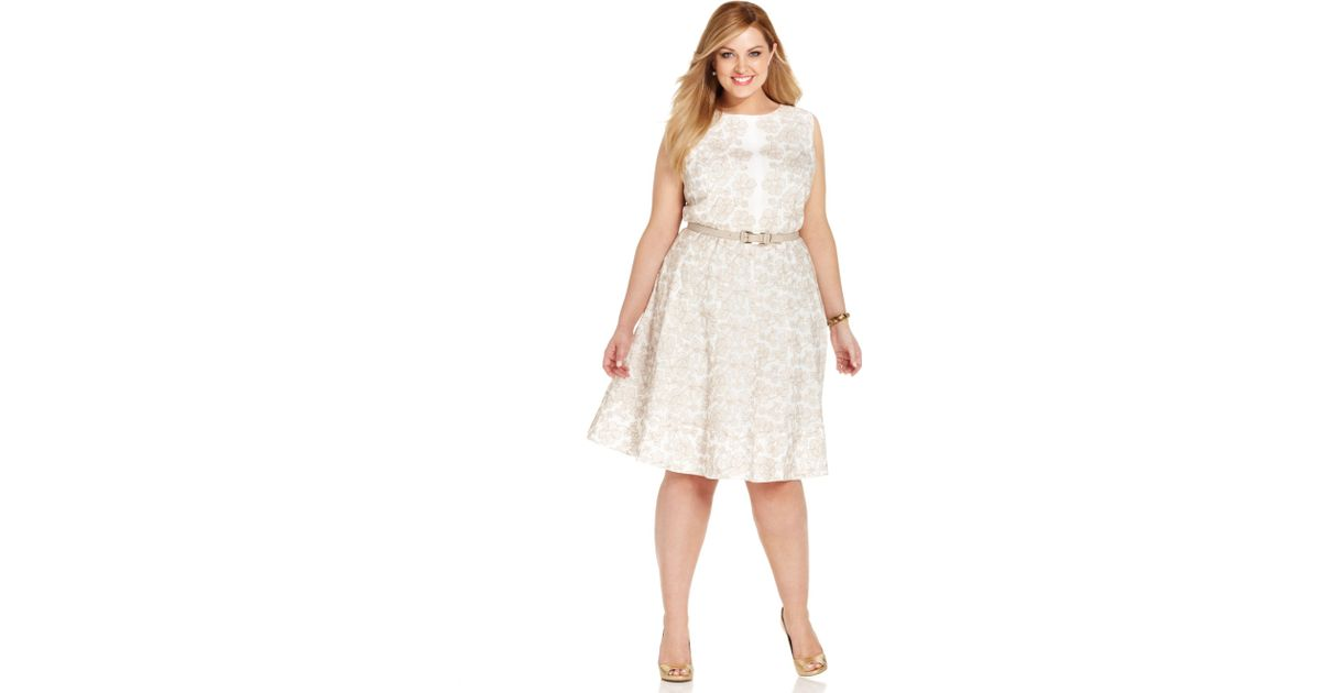 Anne klein Plus Size Floral-embroidered Cotton Dress in White | Lyst