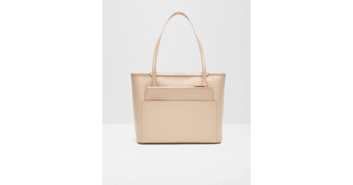 661a4c2e11e904 Ted Baker Crosshatch Leather Small Shopper Bag in Natural - Lyst