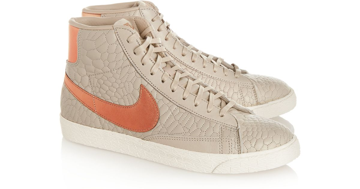 competitive price 0a14e ccb3c Nike - Blazer Croc-effect Leather High-top Sneakers - Light Gray in Gray -  Lyst