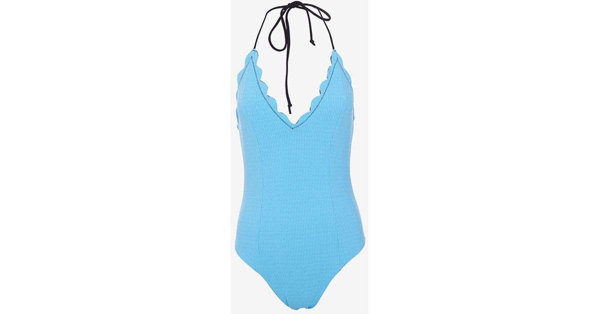 3ed747bf5038 Lyst - Marysia Swim Scalloped Trim Reversible Halter One Piece Swimsuit-  Final Sale in Blue
