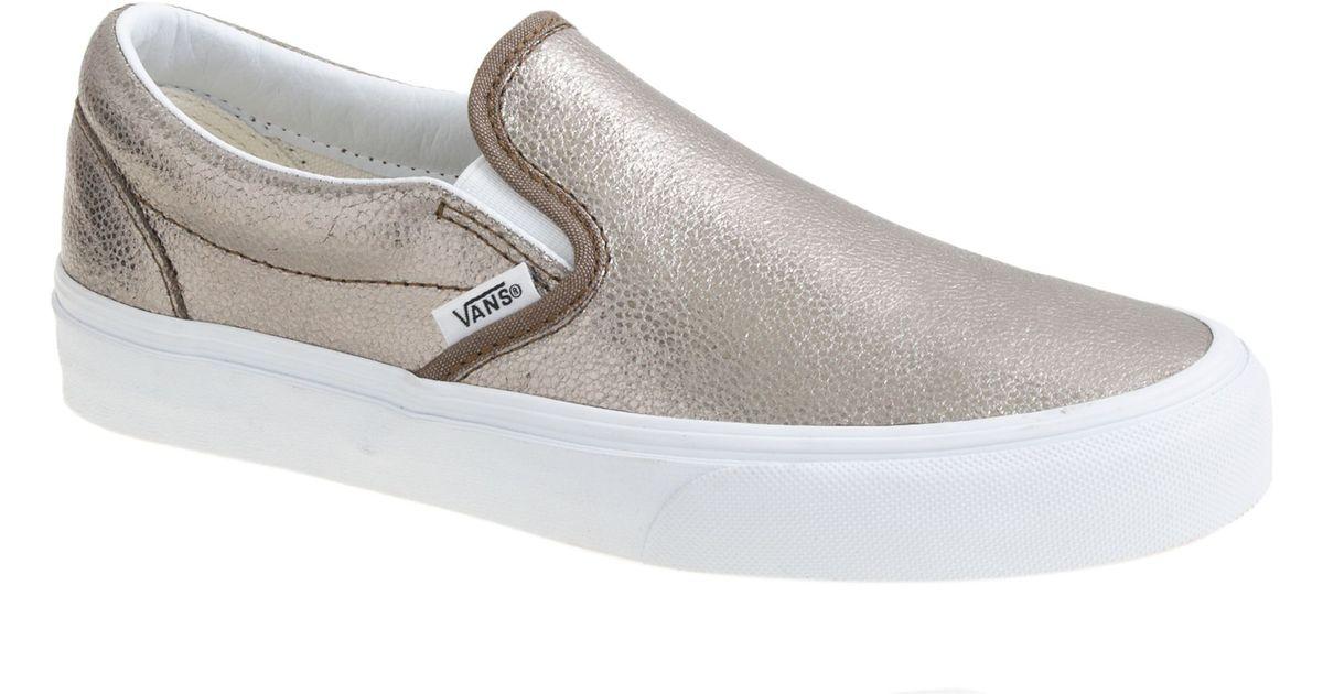 0cfc29ac56 Lyst - J.Crew Vans Leather Metallic Classic Slipon Shoes in Metallic