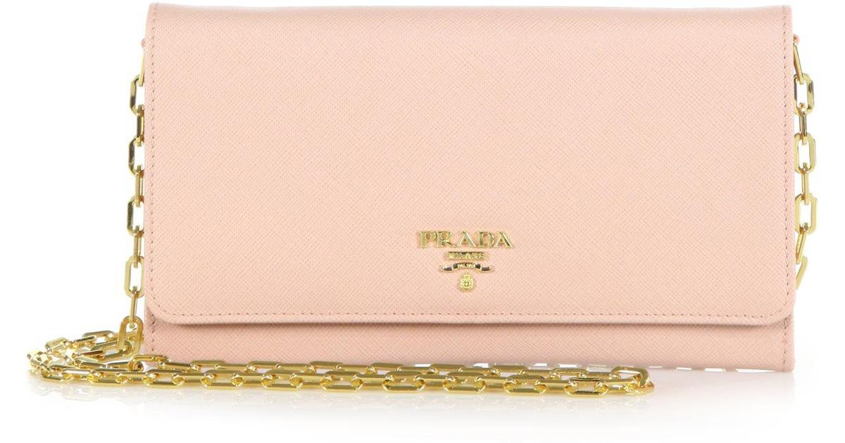 05a15d29305f Prada Large Saffiano Chain Wallet in Pink - Lyst