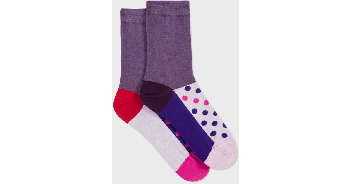 paul smith women 39 s pink colour block polka dot odd socks in pink lyst. Black Bedroom Furniture Sets. Home Design Ideas