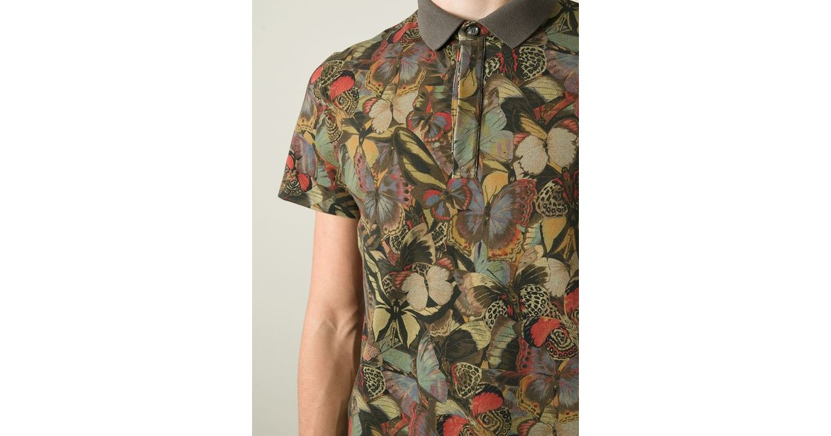 2c637db6eab6 Valentino Butterfly Polo Shirt in Green for Men - Lyst