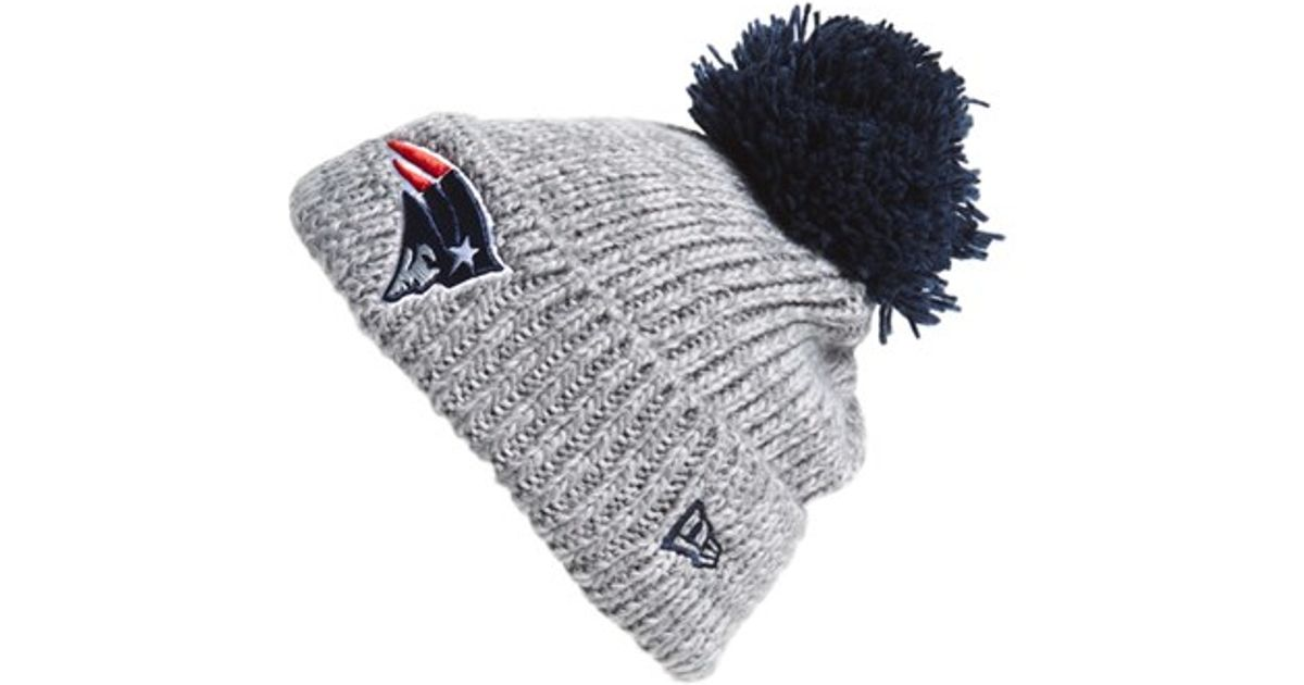 86679f1cc ... new zealand lyst ktz cuff star new england patriots pompom knit beanie  in gray 6f8b8 96975