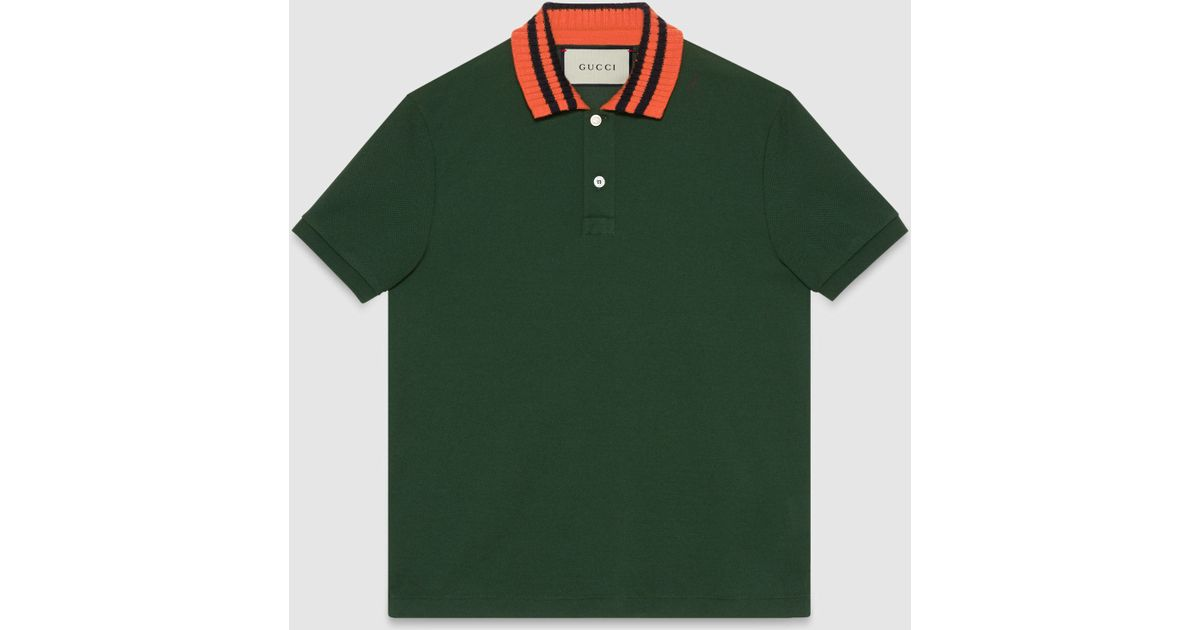 Gucci Cotton Polo With Snake Appliqua C In Green For Men Lyst